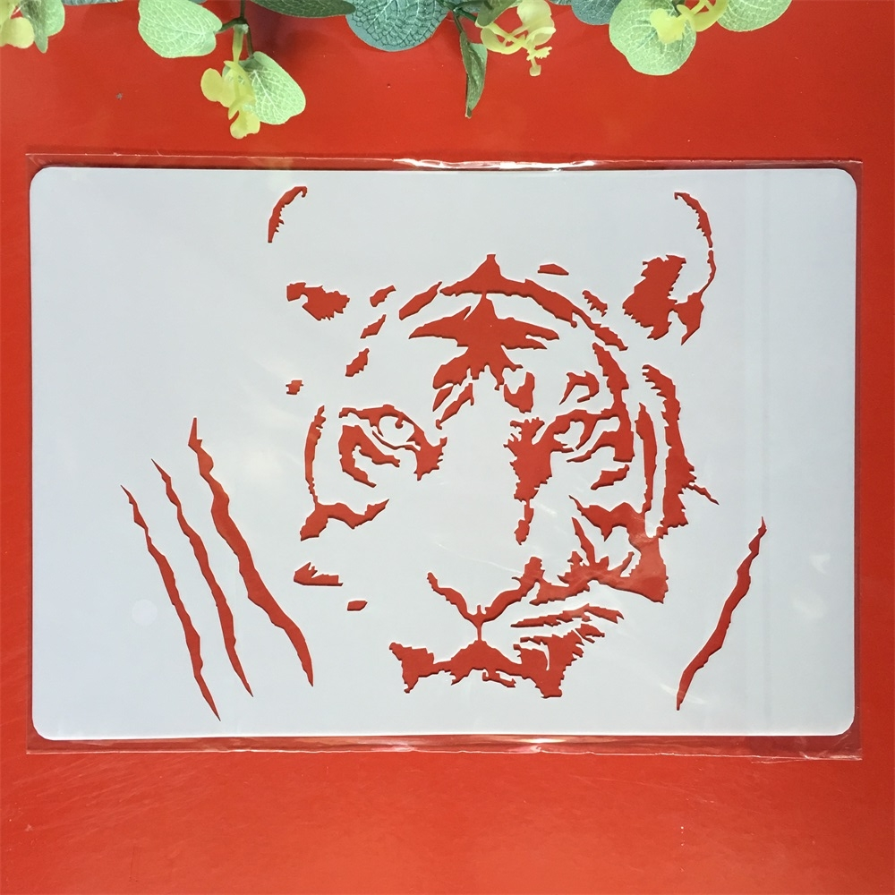 A4 Tiger DIY Layering Stencils Painting Scrapbook Coloring Embossing Album Decorative Paper Card Template