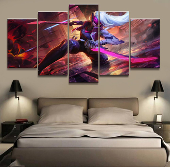 5 Panel LOL League of Legends Katarina Game Canvas Printed Painting For Living Room Wall Art Decor HD Picture Artworks Poster