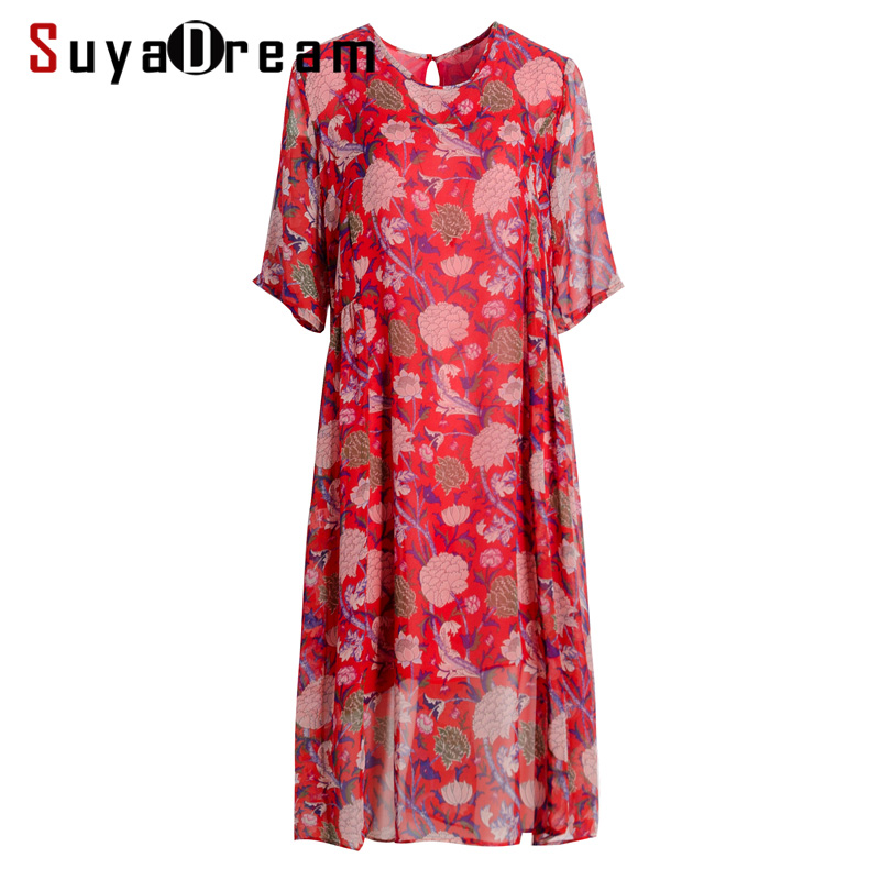 Women Silk Dress 100 REAL SILK Georgette Double Layers Print Dressed O neck Short Sleeved Casual