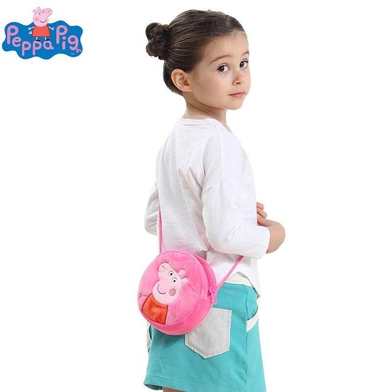 Genuine Peppa Pig 16*16cm Plush Backpacks kids coin purse peppa Goerge round bag plush toys kids cute gift toy 1pc