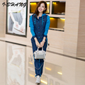 2 Pieces Women Sets 2016 Winter Autumn Denim Knitted Patchwork Hoodie Sweatshirts and Long Pants Sets Casual Ladies Suits WS01