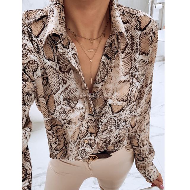 bf7825957df8 women snake print blouse animal pattern patchwork long sleeve split trun  down collar shirts vintage casual tops-in Blouses & Shirts from Women's  Clothing on ...