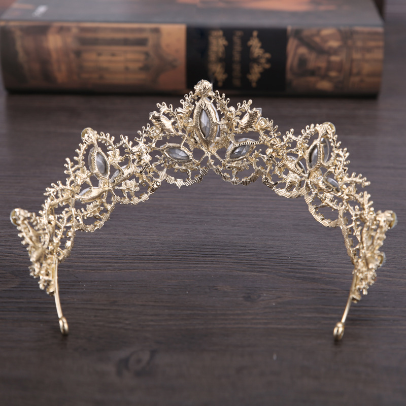 New Fashion Baroque Luxury Crystal AB Bridal Crown Tiaras Light Gold Diadem Tiaras for Women Bride Wedding Hair Accessories 5