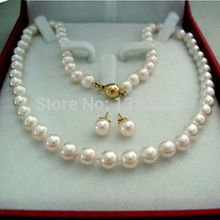 choker Women Gift word Love Jewelry Wholesale!8mm White shell necklace earrings set 18 inch jewelry making design f anime