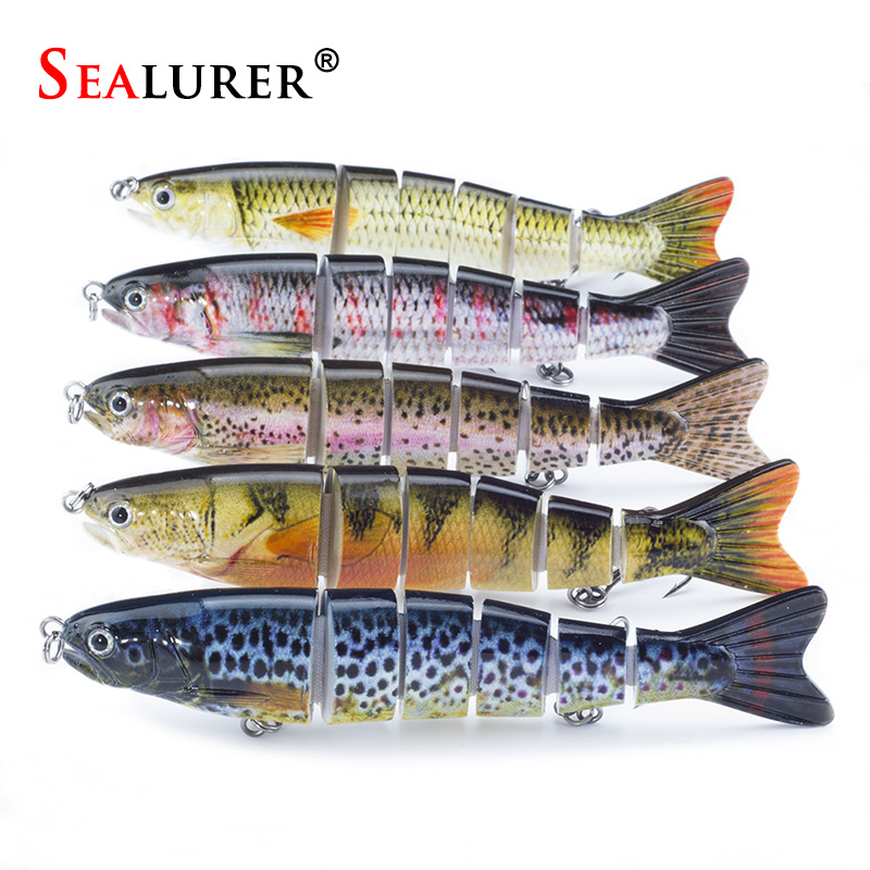 SEALURER 1PCS 5.1/13cm Multi 6 Jointed Saltwater Fishing Lures Bait Fly Fishing Minnow Trout Swimbait High Quality New banshee 127mm 21g nexus voodoo atj01 swimbait two sction multi jointed topwater walk dog stickbait floating pencil