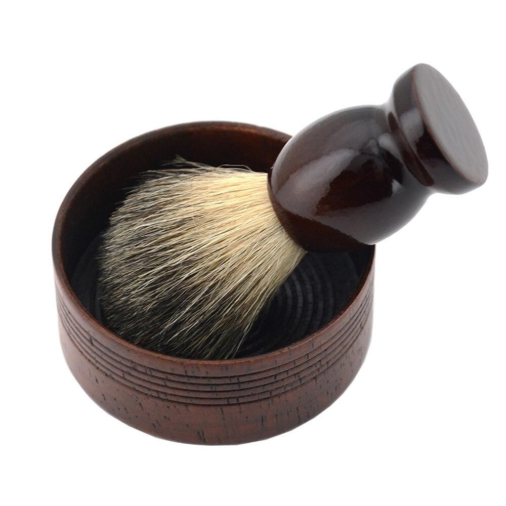 2 pcs Barber Rasage Humide Noir Blaireau/Nylon Cheveux Barbe Rasage Brosse + Classique Bois Bol de Savon Tasse Hommes rasage Barbe Outil