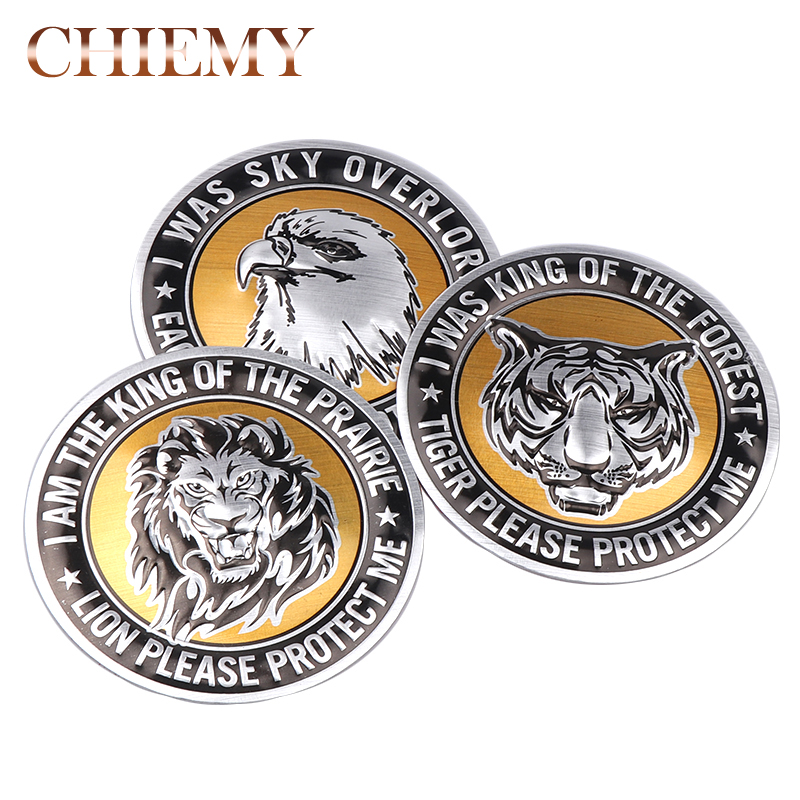 1x Car Decoration Animal Stickers Logo Metal 3D Lion/Eagle/Tiger Aluminium Emblem Badge Decal Auto Auto Styling Car Accessories new red car auto performance aluminium emblems decals badge stickers for honda i vtec engine car styling auto accessories