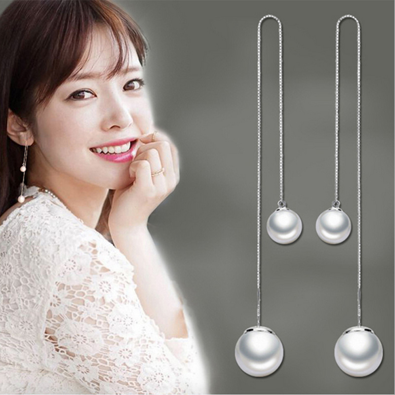Tassel Earring post long chain 925 sterling silver white artificial pearls nickel-free women and girls simple fashion jewelry