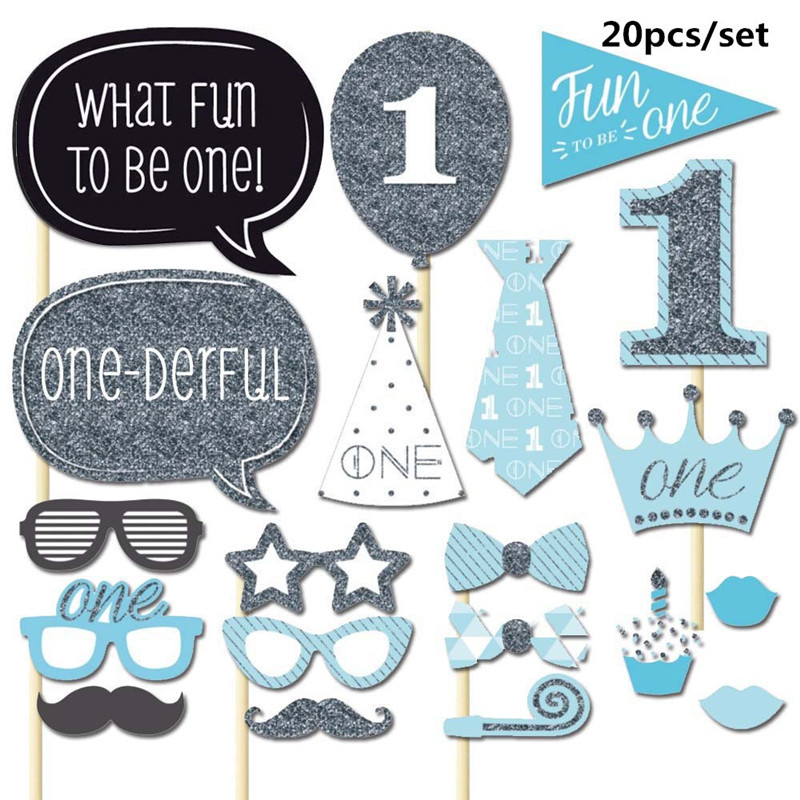 20pcs/set 1st Birthday Party Decorations Photo Booth Props I AM ONE Photobooth First Year Baby Boy Girl Fun Supplies PB005
