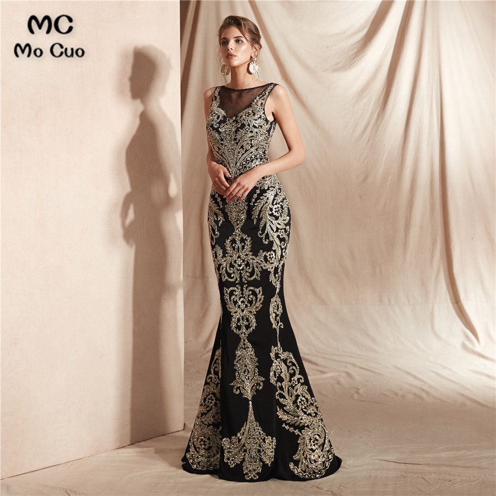 New Arrival Mermaid   Prom     Dresses   with Gold Appliques Tulle Sleeveless Sweep Train Evening Gown   Prom     Dress   Custom Made