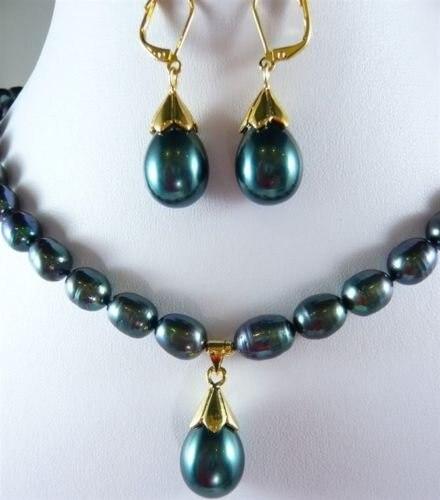 Подлинная 9- 10 мм черный жемчужное ожерелье оболочки жемчужной сережкой комплект замечательный дворянство прекрасно свадебные украшения счастливицы
