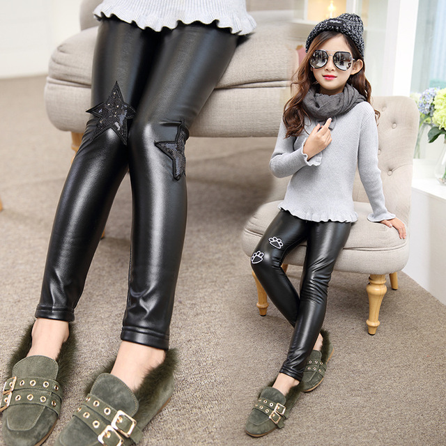 f7bbe4bf4ccb00 Child Clothing Girls Winter black Fashion Plus Velvet Pencil Pu Leather  Pants for Girls Leggings Boot Pants