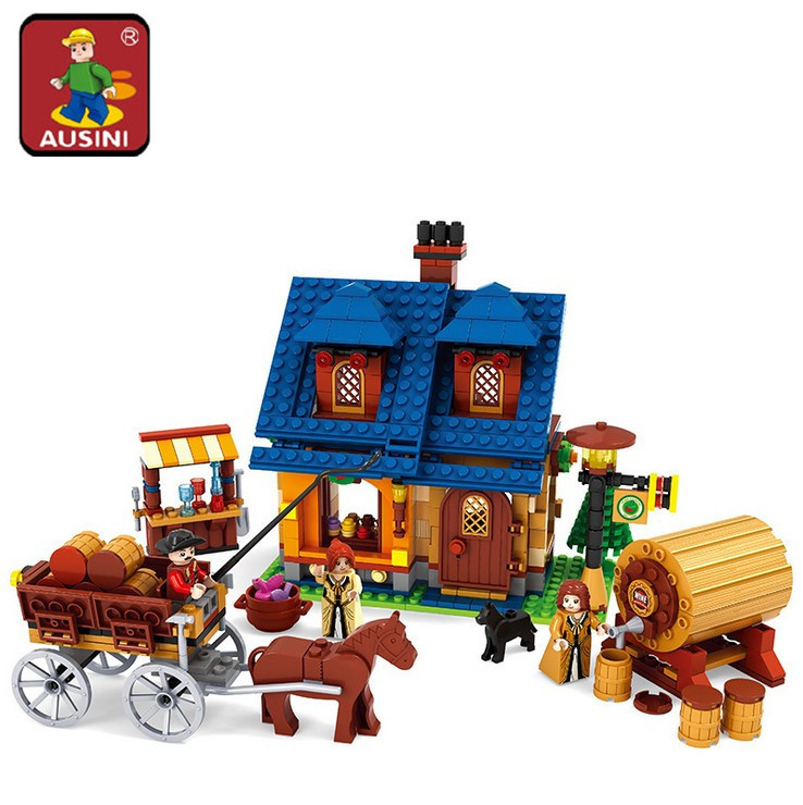 AIBOULLY Farm series 686 pcs Wine House with carriage Building Blocks Sets Kids Educational Bricks Toys h DIY 28704 120pcs farm building blocks diy toys early learning self locking bricks baby educational toys compatible with duplo play house