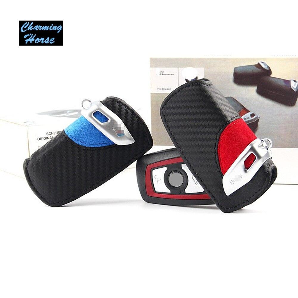 Carbon Fiber Pattern Leather Remote Key Case Cover Holder Wallet For BMW 1 2 3 5