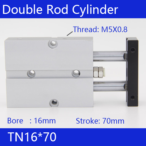 TN16*70 Free shipping 16mm Bore 70mm Stroke Compact Air Cylinders TN16X70-S Dual Action Air Pneumatic Cylinder tn16 70 twin rod air cylinders dual rod pneumatic cylinder 16mm diameter 70mm stroke