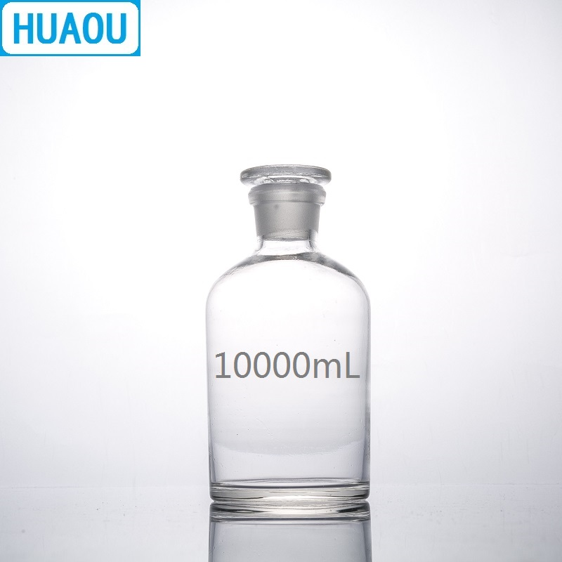 HUAOU 10000mL Narrow Mouth Reagent Bottle 10L Transparent Glass with Ground in Glass Stopper Laboratory Chemistry Equipment 5000ml wide mouth reagent bottle 5000ml glass reagent bottle with ground in glass stopper transparent glass bottle