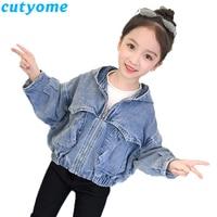 Denim Jackets For Girl Child Autumn Hooded Jeans Coat Toddler Kids Loose Denim Outerwear Coats Children Cardigan Bomber Jacket 9