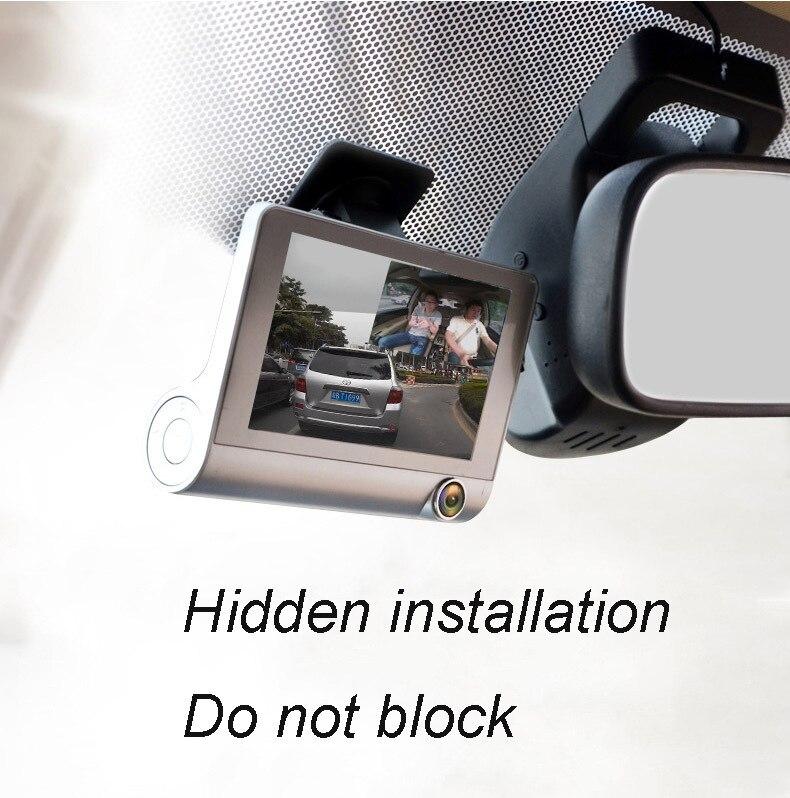 4 дюйма Трехходовой Видеорегистраторы для автомобилей FHD тремя объективами видео Регистраторы Камера 170 Широкий формат Dash Cam G Сенсор и видеокамера с режимом ночного видения