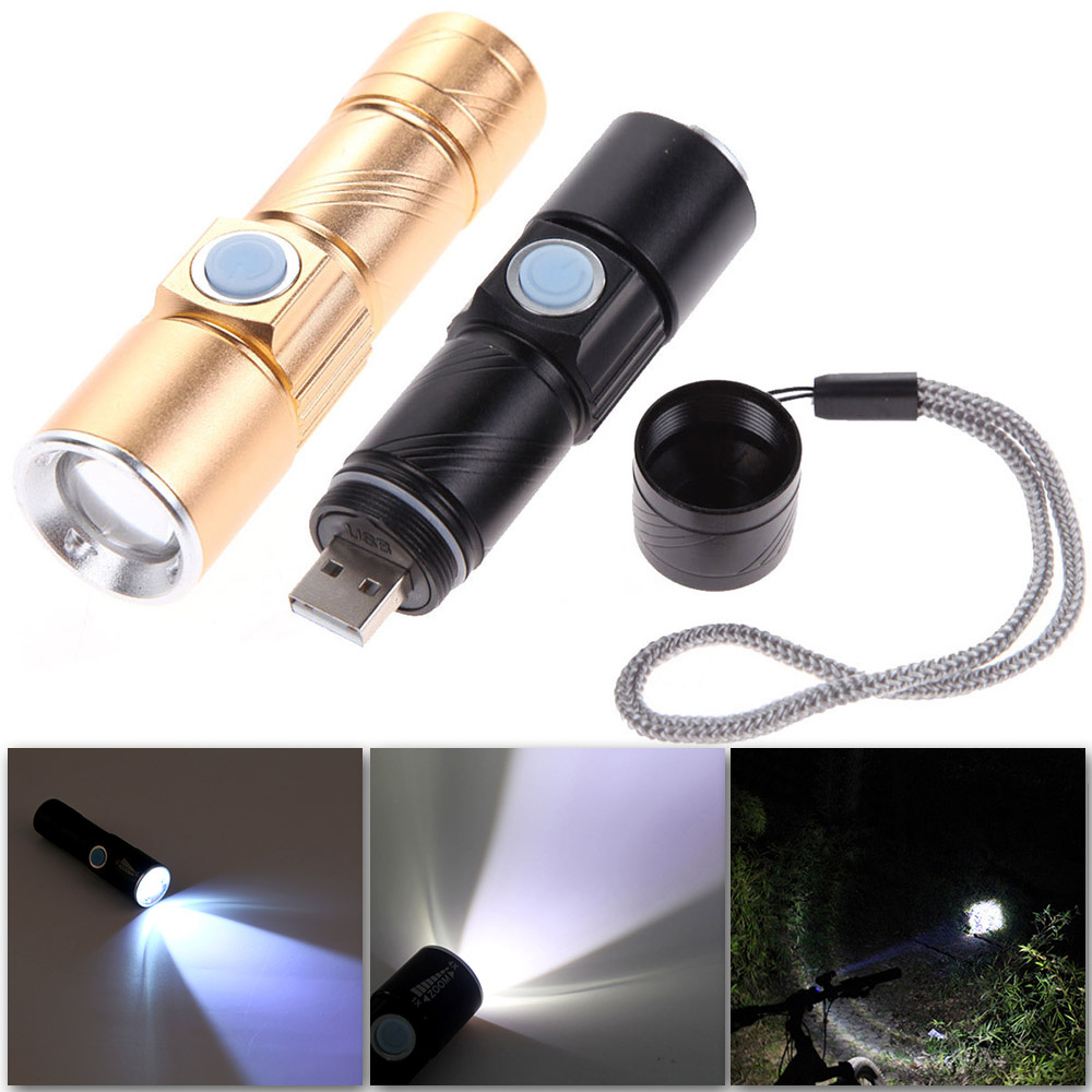 USB Handy Mini LED Torch usb Flash Light Bike Pocket LED Rechargeable Flashlight 3 Modes Zoomable Lamp For Hunting Black/Gold ручной фонарик mini torch mini torch galaxy usb
