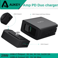 AUKEY 3 Port Fast Charger 29W PD 2.0 USB Type C 3A USB Fast Charging Phone Charger Socket for iPhone X 8 iPad Samsung Huawei etc
