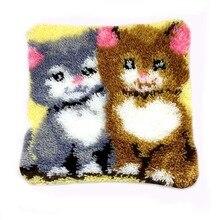 DIY Latch Hook Kits Rug Pillowcase Crocheting Cushion Carpet Unfinished Handmade Canvas Rugs Mat Cartoon Adults Kids Gift Cat