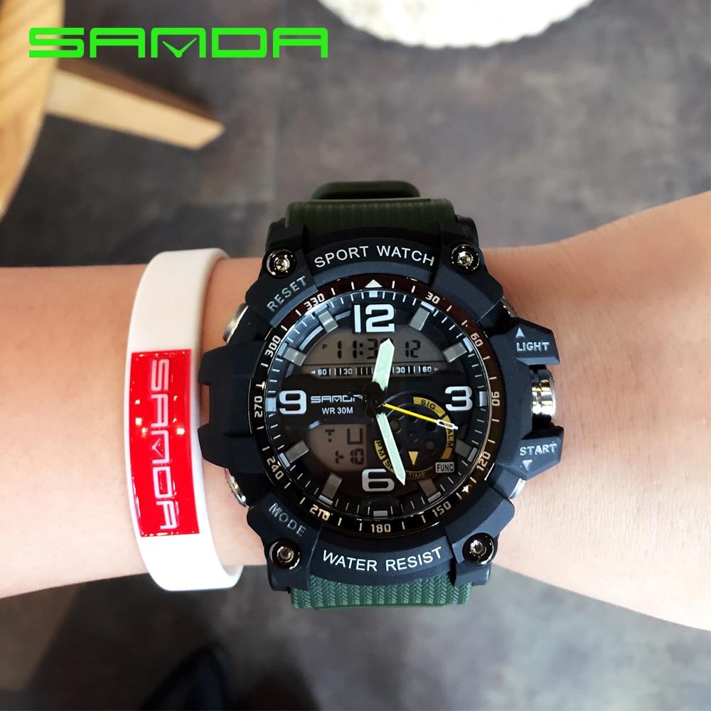 2017 Nuevo SANDA reloj Hombres estilo G impermeable deportes relojes Shock  S hombres analógico Digital de cuarzo f29eb0444356