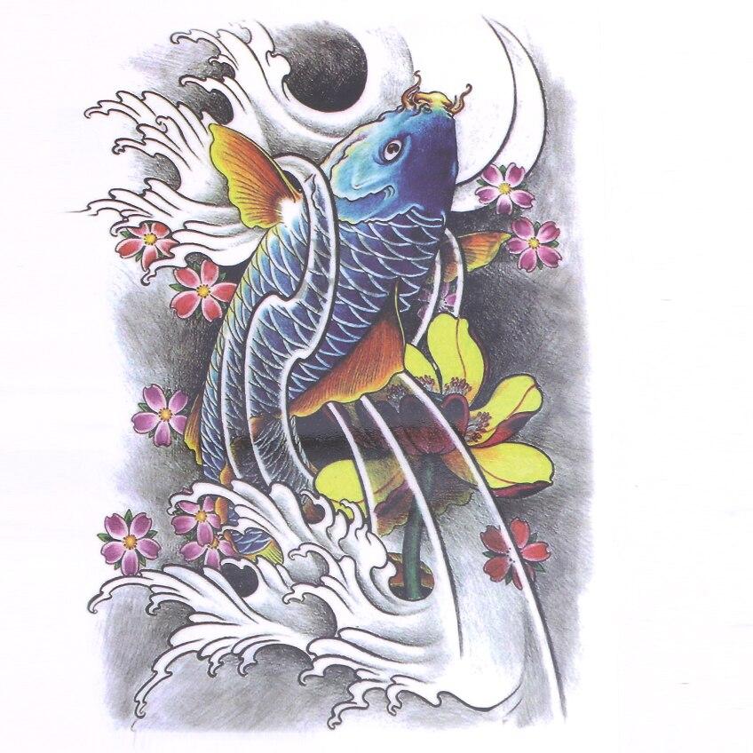 방수 대형 파란 물고기 임시 문신 스티커 34x48cm 큰 전체 다시 잉어 문신 남자와 여자 가짜 문신 디자인
