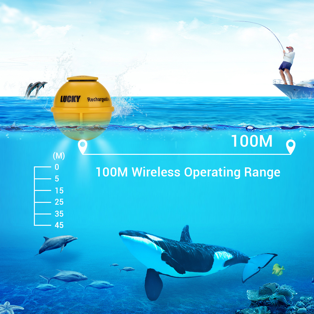 LUCKY  FF718LiC-W Fish Finder Wireless Fishfinder Fishing Sonar 45M/147Feet Depth Sounder Echosonda Echolot Echo Sondeur Deeper 2