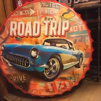 ROAD TRIP Large Beer Cover Tin Sign Logo Plaque Vintage Metal Painting Wall Sticker Iron Sign Board Decorative Plates 50X50 CM