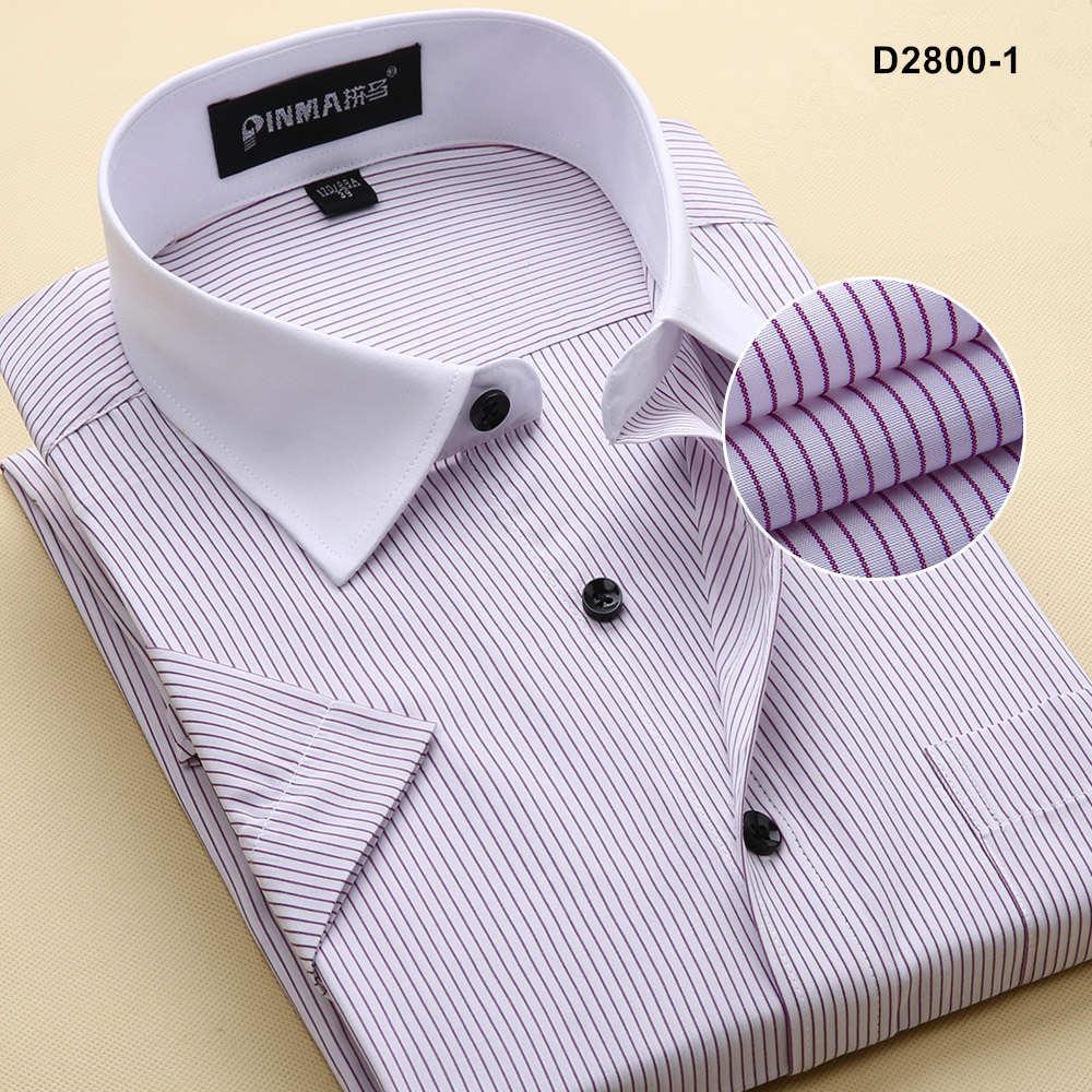 Брендовые мужские рубашки в полоску, Повседневная Деловая официальная рубашка высокого качества с коротким рукавом для мужчин размера плюс 5XL-8XL - Цвет: D28001
