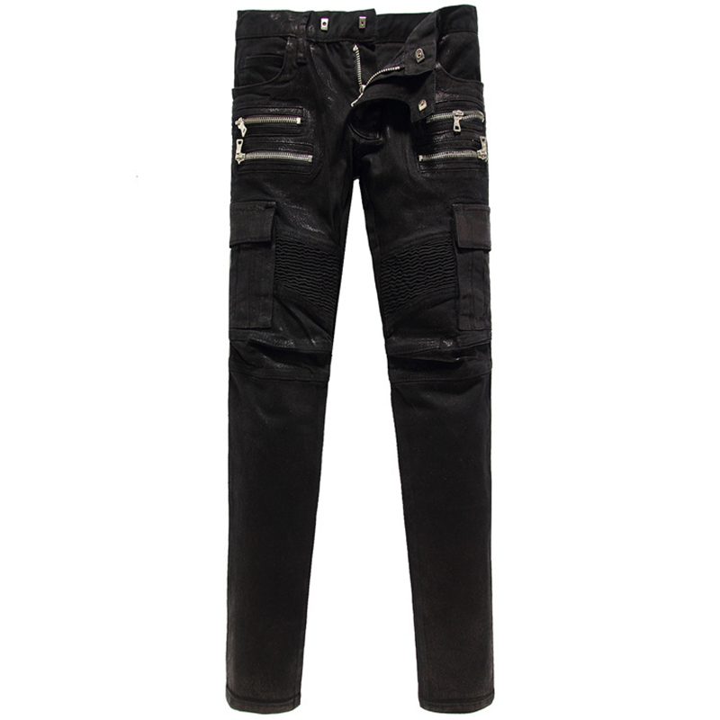 NWT Italy famous Fashion brand jeans men Shiny black Denim jean Pockets Slim pants mens Casual skinny pantalones - JACK ANTONG SHOP store