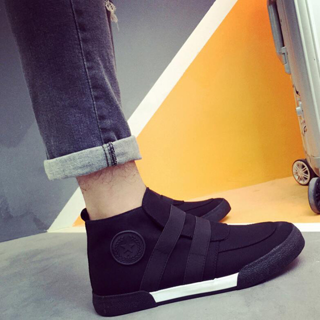 Apliques de moda de Alta Superior Zapatos Ocasionales de Los Hombres de Banda Elástica Homme Chaussure Sapato masculino de Lona Transpirable antideslizante Suela De Goma