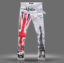 Men Jeans, Regular Pencil Pants, Printing Denim Jeans For Men, Hot 2015 New American Flag Slim Trousers Plus Size 28-40