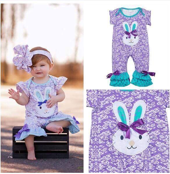 Newborn Baby Bunny Pattern Cotton Bodysuits Ruffle Easter Infant Boutique Girls Purple Popular Clothing With Bow R028