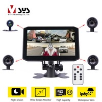 SYS X7 7.0'' Quad Split Monitor 4 Channel Car Truck DVR Dash Cam Backup Camera Recorder IR Night Vision Waterproof Cameras