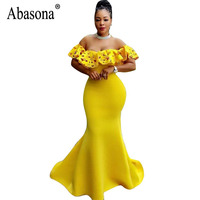 Abasona Women Evening Party Dress Sexy Off Shoulder Ruffles Dresses Elegant Ladies Summer Long Maxi Dress