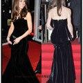 Sexy Formal Velvet Mermaid Black Celebrity Dresses Evening Dress 2016