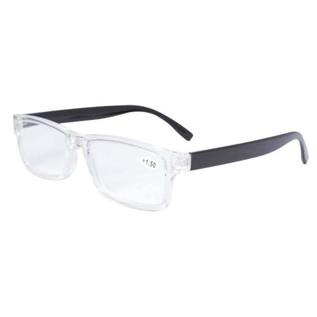 f51c607c0f86 FR003 Black Clear Fashion Quality Plastic Frame Reading Glasses With Case+1  1.25