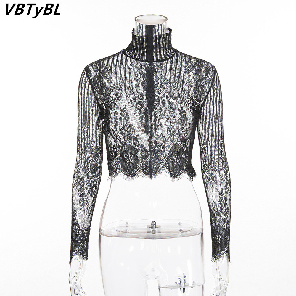 VBTyBL 2018 new White Lace Sweatshirts Women Long Sleeve esigner Hoodies Sweatshirts Hollow Out Transparent Pullover Sweat Femme