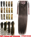 """16 """" 18 """" 20 """" 22 """" 24 """" 26 """" 28 """" 100% brasileiro Remy grampos de cabelo em / sobre extensões de cabelo humano rabo de cavalo rabo de cavalo # 2 brown 80 g 100 g 120 g 140 g"""