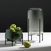 New Product Supply Wrought Iron Bracket Green Straight Glass Vase Creative Fruit Vase Vase Living Room Jewelry Decoration