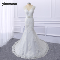 High Quality Real Photo mermaid Long wedding dresses 2018 Bridal Gowns Wedding dress Appliques trouwjurk Removed Beaded Sashes