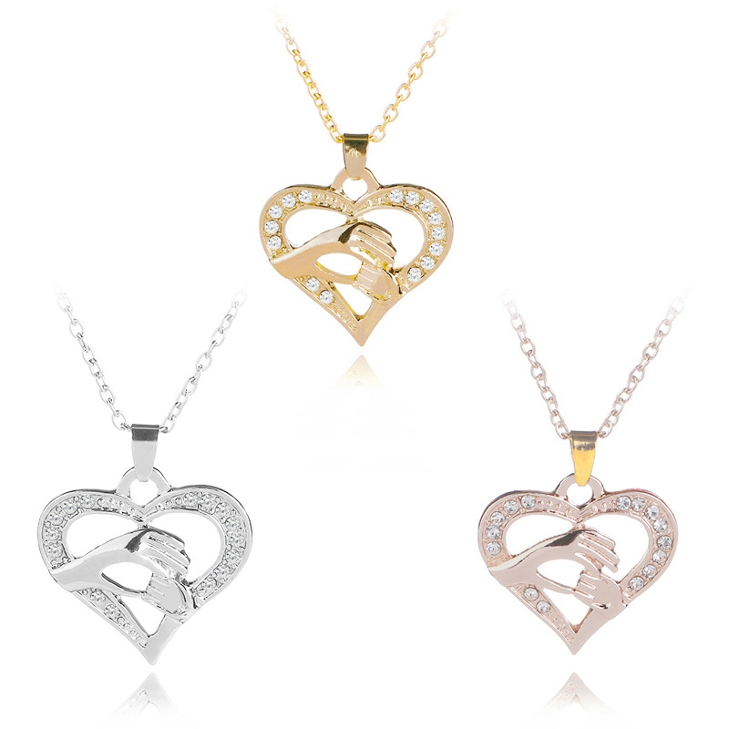 SUTEYI Mothers Day Necklace Women Choker Gift Mother Baby Hand Holding Love Heart Pendant Charms Rose Gold Mom Necklaces Jewelry
