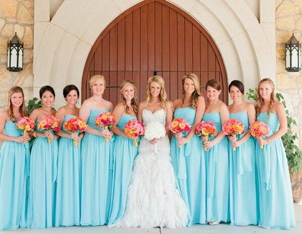 Online Shop Long Chiffon Cheap Plus Size Teal Bridesmaid Dresses ...
