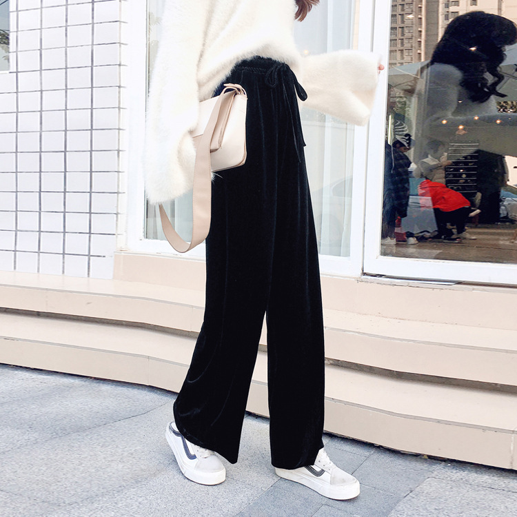 2018 Autumn New Pattern Korean Velvet Leisure Sports Pants Show Thin Wide Leg Woman 4