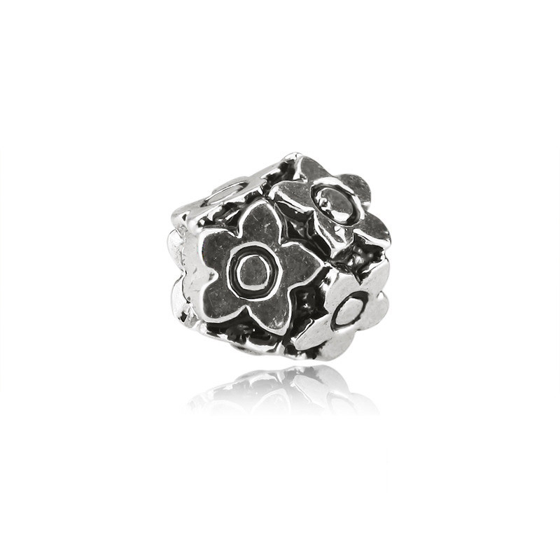 European DIY Jewelry Rhodium Plated Metal Big Hole Beads with Flowers Hydrangea design Fit for Pandora Charms Chain Bracelet