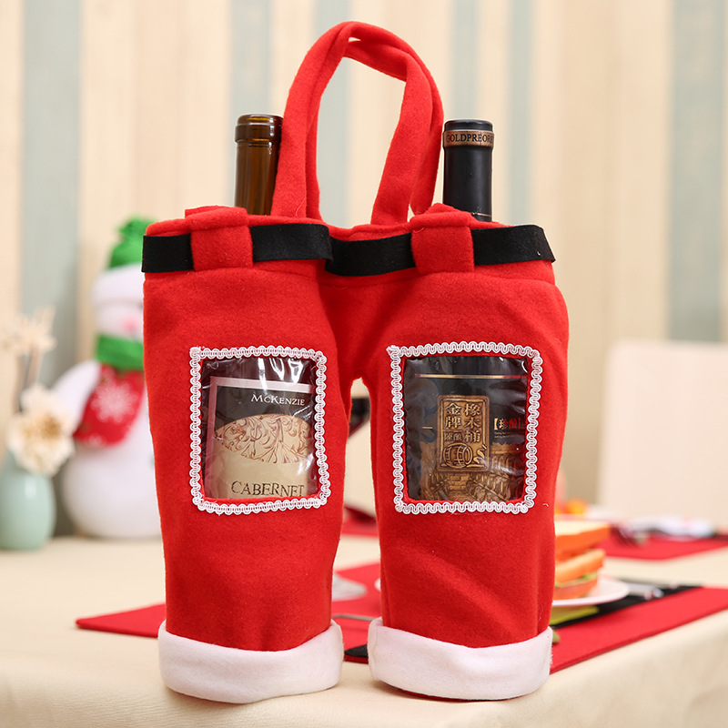 2Pcs/Lot New Year Chirstmas Kitchen Whisky Beer Wine Bottle Rack Holder Cover Bag For Home Decorations Accessories Crafts Gifts