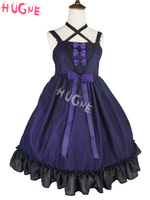 Gothic Puppet JSK Lolita Dress Tulle Jacquard Ruffles Ribbon Bow Plum Japanese Lolita Jumper Skirt