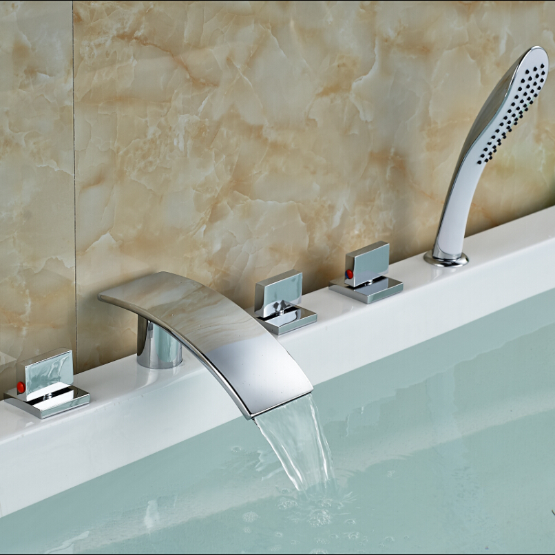 Luxury Deck Mount Chrome Roman Tub Faucet Widespread 5pcs Bathtub Mixer Tap with ABS Handshower deck mount luxury 5pcs bathtub tub mixer taps bathroom widespread chrome brass bath tub faucet with handshower