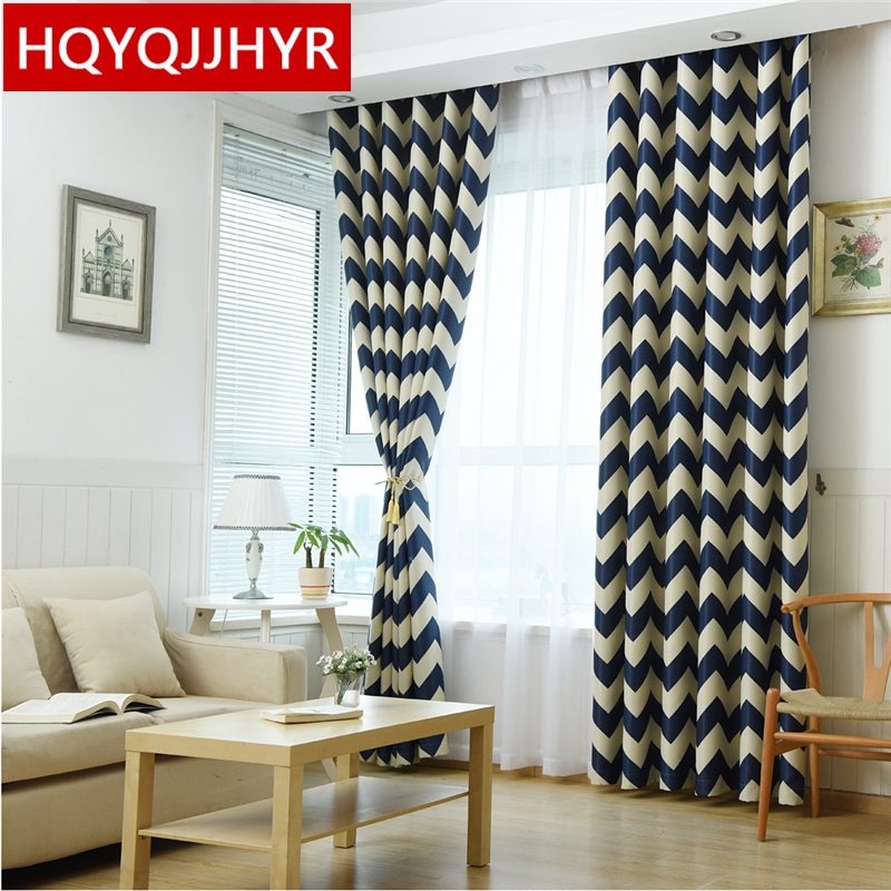 ᐊ2016 Nueva Venus Mediterráneo rayas azul Blackout cortinas para